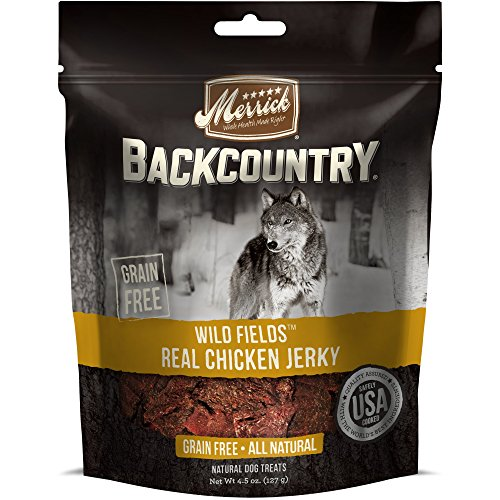 Merrick Backcountry Wild Fields Real Chicken Jerky Grain Free Dog Treats, 4.5 Oz.