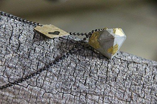 "Diamond Shape Pendant Concrete Cement Handmade Designer Jewelry 28"" Necklace Gift Gold Leaf Grey Geometric Modern 2017 2018"