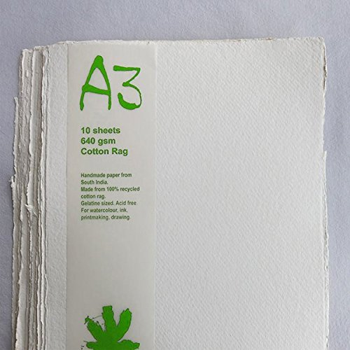 Handmade Recycled Paper. A3, 640gsm, 10 sheets. by Khadi Papers