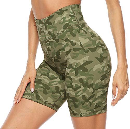 Persit Pantalones cortos de deporte para mujer, opacos, cintura alta, pantalones cortos...