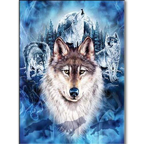 ZXXGA Kit Completo De Pintura De Diamante 5D,Lobo Animal Diamond Painting 40X50Cm,Bordado De Punto De Cruz, para Decoración del Hogar