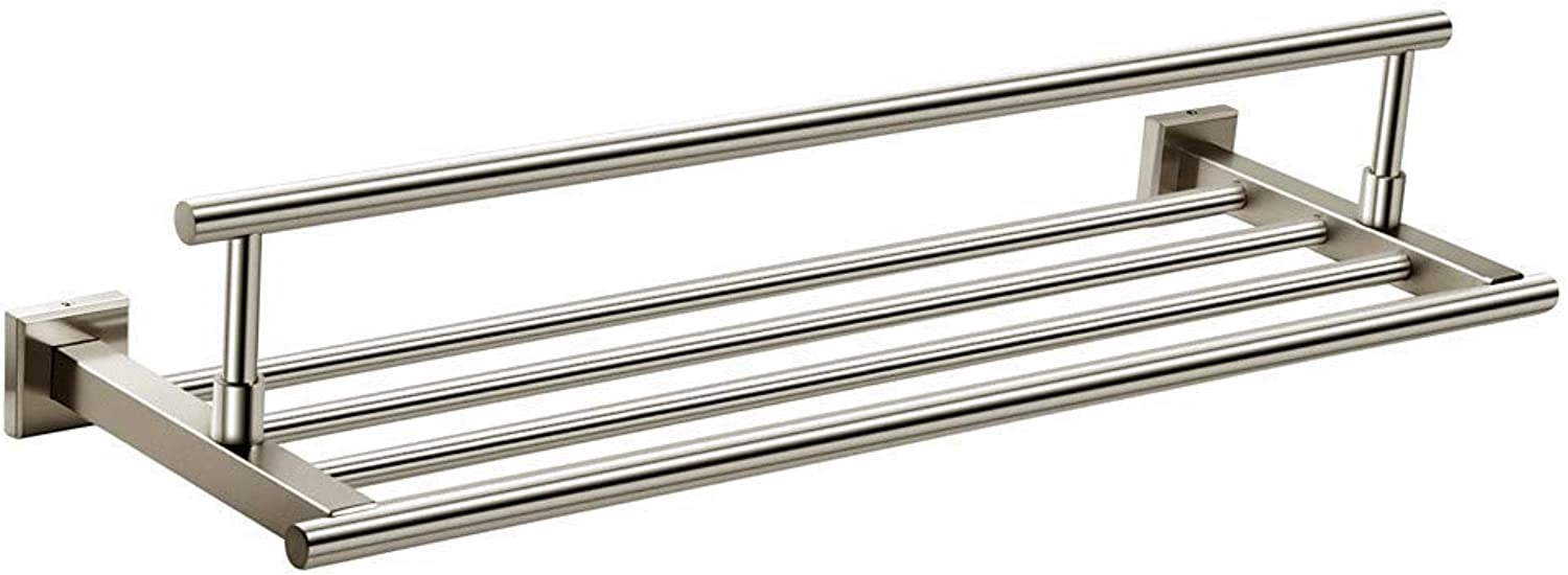Towel Rack Towel Bar Cool Contemporary Modern Stainless Steel Stainless Steel Iron 1pc - Bathroom Hotel Bath Double Wall Mounted,Silvery Bathroom Towel Shelf (color   Silvery)