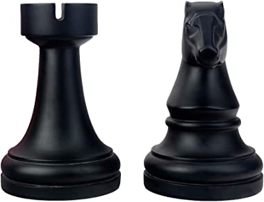 Decorative Bookends Chess Bookends, Black Book Ends Heavy Book Supports, Unique Bookends Decor for Office Home Desk Bookrack,