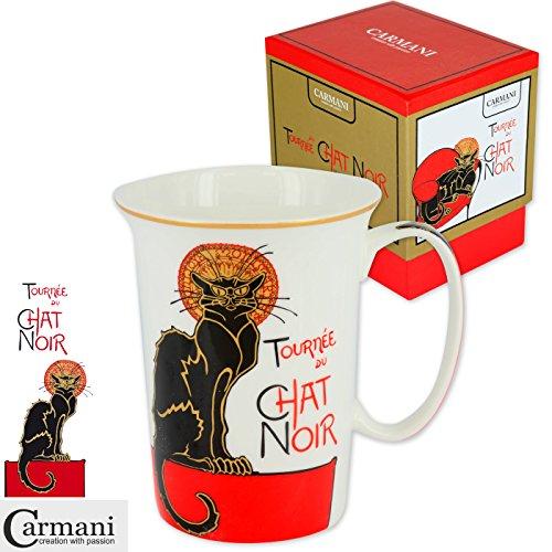 CARMANI - Chic tasse de thé avec motif 'Chat Noir' 350 ml