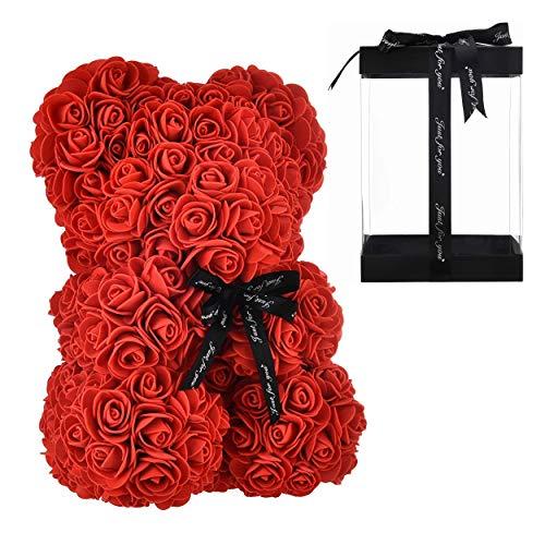 Orso di Rose Orsetto di Rosa Orsacchiotto di Rosà Altezza 25 cm Teddy Bear Rosse Idea Regalo Regali per Lei Fidanzata Compleanno Mamma Anniversario San Valentino (Senza LED, Rosso)