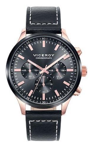 Viceroy 471059-57 - Reloj cronógrafo de Piel para Hombre, Color Negro