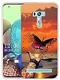 Sunrive Kompatibel mit Asus Zenfone Selfie ZD551KL Hülle Silikon, Transparent Handyhülle Schutzhülle Etui Hülle (X Schmetterling)+Gratis Universal Eingabestift MEHRWEG