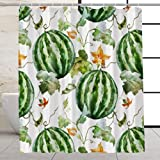 VEGA U Wassermelonen-Duschvorhang für Badezimmer, Wasserfarben, Sommer-Frucht-Thema, Baddekoration mit Haken, 183 x 183 cm (Wasserfarben)