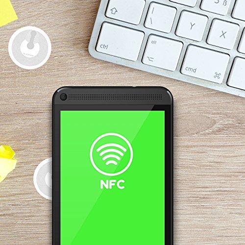 NFC Tag Sticker (10 Stück) kompatibel mit Apple iPhone Kurzbefehle iOS App / Homekit & Android Smartphone Apps NTAG Speicher Chip RFID Tags Aufkleber