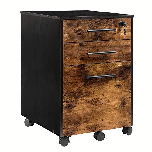 HOOBRO rollbarer Aktenschrank, eine abschließbare Schublade, mobiler Büroschrank mit hängenden Aktenfächern, 3 Schubladen und Rollen, Büroablage, Ablageschrank, geeignet für Büro, Vintage EBF02WJ01