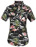 SSLR Camisa de Manga Corta Estilo Hawaiana con Estampado de Flamencos paea Verano Fiesta de Mujer (Medium, Negro)