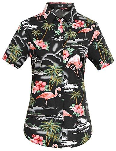 SSLR Camisa Hawaiana Mujer Blusa Flamencos Floral Casual para Verano (X-Small, Negro)
