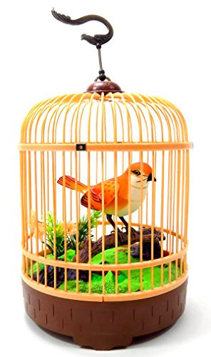 PowerTRC Singing & Chirping Bird in Cage | Realistic Sounds & Movements | Orange Bird | Sound Activation | Pet Caged Bird Toy