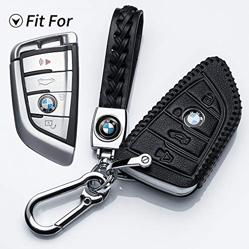 Hey Kaulor for BMW Key Fob Cover, Full Protection Soft Leather Key Fob Case Compatible with BMW X1 X3 X5 X6 and 5 Series 2018 7 Series 2017 up 2 Series and 6 Series (GT) Keyless Entry,Black