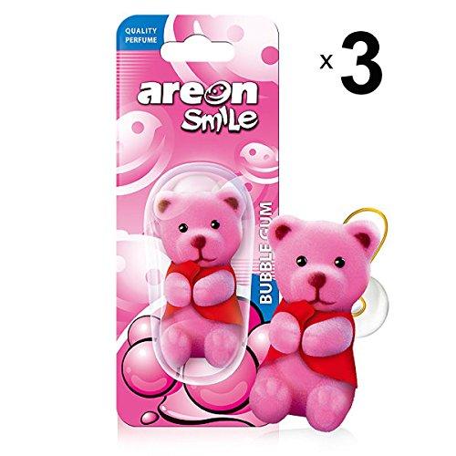 AREON Smile Ambientador Coche Chicle Bubble Gum Rosa Aire Divertido Mini Decorativo Colgar Colgante Retrovisor Moderno Muñeco Grasioso Oso Original Perfume 3D Casa Oficina Olor (Bubblegum Pack de 3)