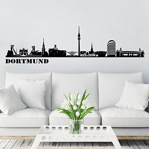 Wandkings Skyline - Deine Stadt wählbar - Dortmund - 125 x 27 cm - Wandaufkleber Wandsticker Wandtattoo