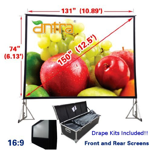 Antra 16:9 Fast Fold Projector Projection Screen with Front & Rear Projection Material on Heavy Duty Frame w/Carry Case (150' Diagonal / 11.1' X 5.4') with Drape Kits
