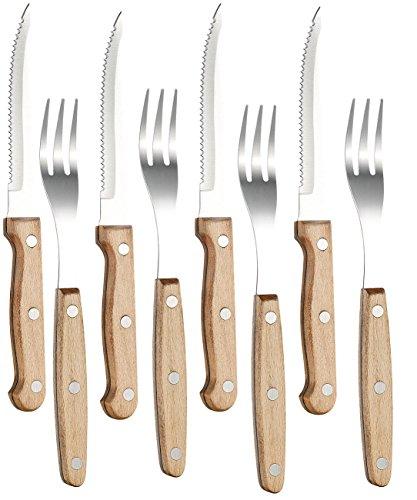 PEARL 8-teiliges Steakbesteck mit Buchenholzgriffen für 4 Personen