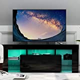 U-Kiss TV Board Lowboard, Fernsehschrank, Fernsehschrank Fernsehtisch TV-Schrank mit LED-Beleuchtung, Stehend TV-Regal (130 x 45 x 35 cm Schwarz)