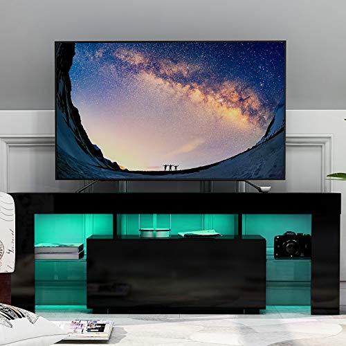 WGYDREAM Mueble TV Mesa Televisión Gabinete De La Unidad De Soporte De TV LED Moderno Negro TV Escritorio con Luces LED Almacenamiento para Sala De Estar Muebles para El Hogar