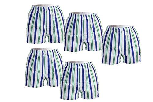 WB Jungen Boxershorts Kinder Short Shorts Unterhose - 5er Set (122/128, 1 Gestreift)