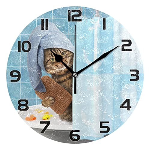 Wall Clock Silent Non-Ticking, Stylish 3D Bathroom Cat Vintage Wood Print Round Hanging Clock, 10 Inch Battery Operated Quartz Analog Quiet Desk Clock for Home, Kitchen, Office, or School