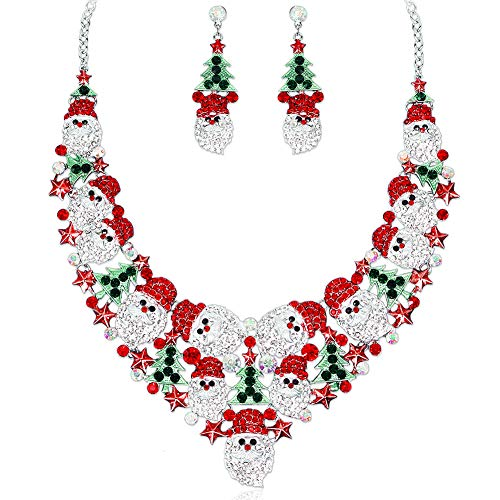 Luxury Rhinestone Statement Bib Necklace Earrings Sets Santa Claus Christmas Tree Elements Party Costume Jewelry Gifts for Women