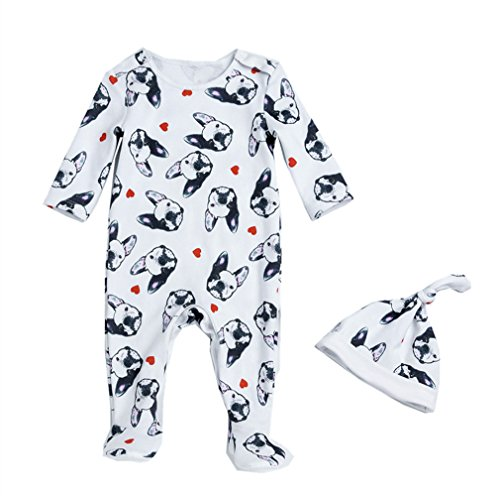 Beide Baby Boys Girls Unisex One Piece Bulldog Footies Pijama with Hat (color1,3-6m)
