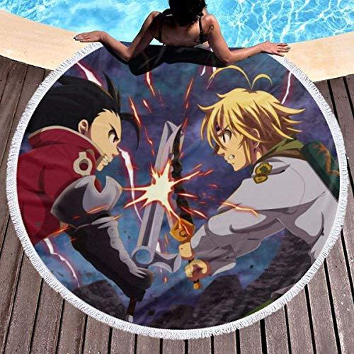 XZ-Sky Alfombra Redonda de Toalla de Playa Anime los Siete pecados Capitales Manta de Yoga Picnic Mat 59 '