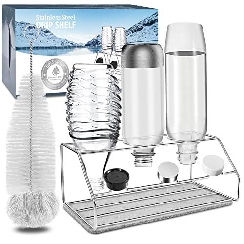 YAOMAISI Premium 304 Abtropfgestell,Sodaflaschenhalter,für Wassersprudler aus Edelstahl .Crystal 2.0, Easy,Power,Getränkeflaschenregal,Geeignet für alle Wassersprudler inkl + flaschenburste