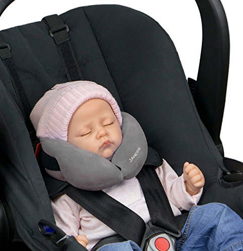 SANDINI SleepFix® Baby – cojín cervical con función - Accesorios de asiento infantil para coche/bicicleta/viaje - Reposacabezas/reductor de asiento/ evita que la cabeza de su hijo caiga mientras duerme