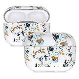 kwmobile Funda Auriculares Compatible con Apple AirPods Pro - Estuche Protector Duro de 2 Piezas - Flores Azules y Naranjas Azul/Amarillo/Transparente