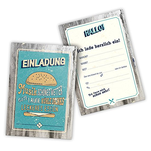 itenga 12 x Postkarte Einladung BBQ Retro Grillparty Geburtstag Burger Vintage 50s 60s DIN A6 hoch