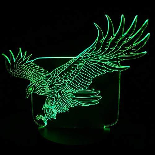 OGUAN Lámpara de mesa de lectura, Lámpara de mesa de dibujos animados colorido halcón 3D de la forma nueva increíble vuelo Gran Águila luz de la noche de la Oficina del dormitorio del hotel Bar sensor