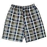 mega Men Summer Casual Plaid Shorts Beach Elastic Drawstring Waist Swim Trunks with Pockets