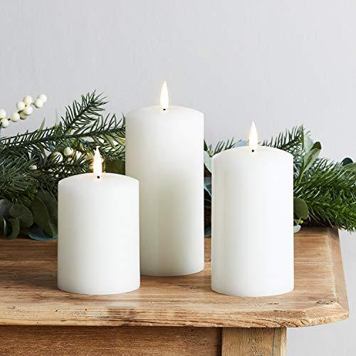 Lights4fun 3er Set weiße TruGlow® LED Echtwachskerzen mit warmweißer LED Flamme batteriebetrieb