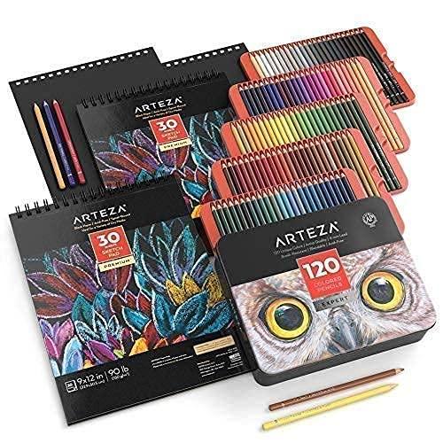 Arteza Black Paper Sketch Bundle, Drawing Art Supplies for Artist, Hobby Painters & Beginners