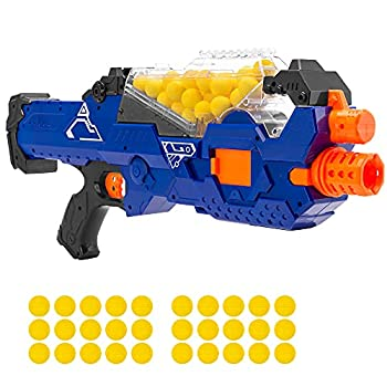Best Choice Products Kids Motorized Soft Foam Ball Blaster Electric Rapid Fire Toy Combat Battle Set for Children Family w/Automatic Hopper Feeder 20 Balls Long Distance Shooting - Multicolor