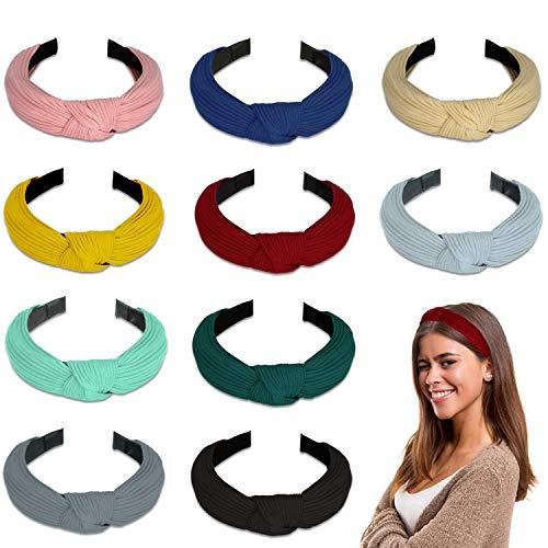 Winpok Haarreifen Damen,10 Stück Stirnband Damen Eelastische Haarband Turban Knoten Hairband Frauen Haarreifen Damen Sport Yoga Dusche Stirnband Haar Zubehör