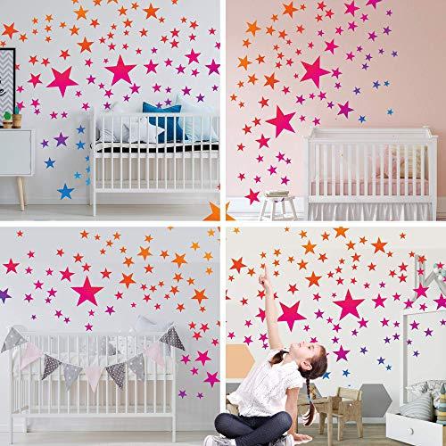 50 Sterne Wandtattoo fürs Kinderzimmer - Wandsticker Set - Pastell Farben, Baby Sternenhimmel zum Kleben Wandaufkleber Sticker Wanddeko - Kleinkinder, Erstausstattung auf Rauhfaser, Farbverlauf