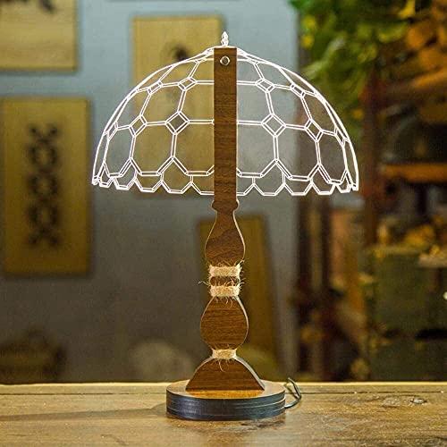 Lámpara Escritorio Lámpara de escritorio LED con puerto USB regulable visual visual en 3D creativo con arco moderno y material acrílico hexagonal y base de madera para decorar el dormitorio y la sala