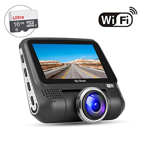 "OldShark G15 Dash Cam with WiFi (Free 16GB SD Card),1080P Full HD in Car DVR 220 Degree Wide Angle 3"" LCD Dashboard Camera,Sony Sensor Car Driving Video Recorder with G-Sensor, Night Vision,WDR"