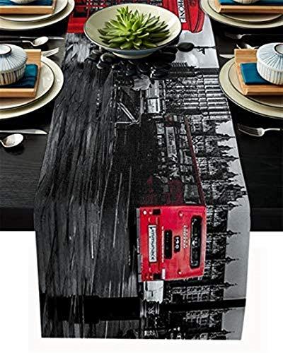 VJRQM Chemin de Table Chemin de Table Décor de Table Cabine téléphonique Rouge Vintage London Street Big Ben pour Cuisine Table à Manger Table Basse Party Wedding Decor,13x90inch