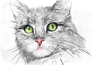 EGGDIOQ Doormats Cat with Green Eyes Custom Print Bathroom Mat Waterproof Fabric Kitchen Entrance Rug, 23.6 x 15.7in