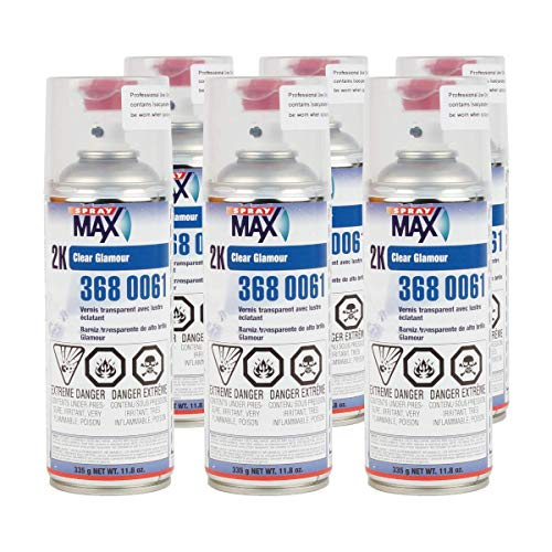 SprayMax 2K High Gloss Finish Clear Coat Spray Paint   Car Parts and Repair Refinishing Clear Coat for Permanent Sealing of Coated Surfaces   6-Pack