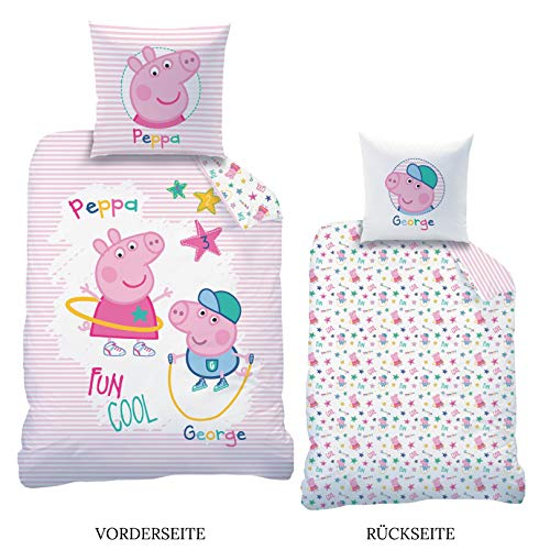 Peppa Wutz CTI Wendebettwäsche Renforce Peppa Pig · Kinder-Bettwäsche für Mädchen · Rosa, Weiß · Peppa & George · Kissenbezug 80x80 + Bettbezug 135x200 cm