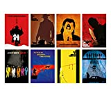 Quentin Tarantino Movies Minimalist Poster Set 8 The Hateful Eight Django Unchained Kill Bill Pulp Fiction Inglourious Basterds Jackie Brown Death Proof Reservoir Dogs Collection Prints Wall Art