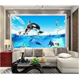 Papel tapiz de habitación 3d mural fotográfico peces de mar profundo acuario delfín imagen pintura decorativa papel tapiz mural 3d 140x100cm