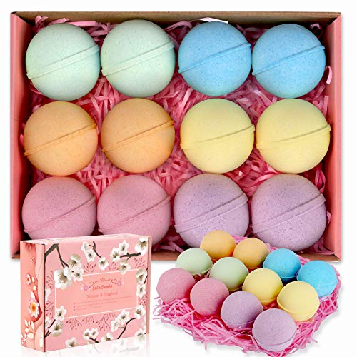 Bath Bombs, Linkax Handmade 12 Counts Bathbombs Gift Set, Spa Bubble Bath Bomb Gift for Mom, Her,...