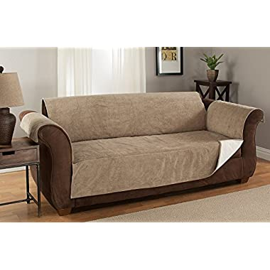 Furniture Fresh Heavy-Weight Luxury Textured Microsuede Pebbles Furniture Protector and Slipcover with Anti-slip Non-slip Backing (XL Sofa, Natural)-Water Repellant